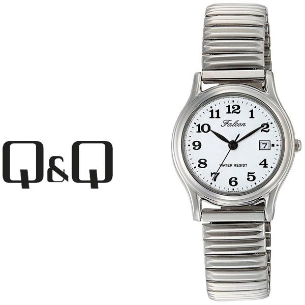 【ネコポス配送で送料無料】【レビューを書いて1年保証】シチズン CITIZEN Q&Q キューキュー Falcon ファルコン レディース 腕時計 ホワイト × シルバー D015-204