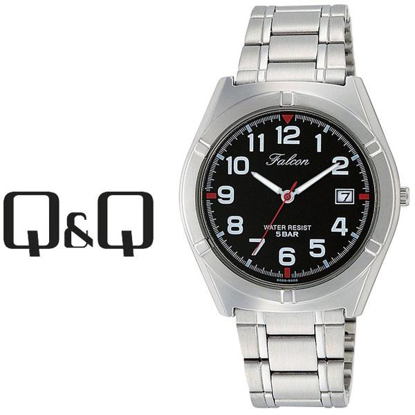 【ネコポス配送で送料無料】【レビューを書いて1年保証】シチズン CITIZEN Q&Q キューキュー Falcon ファルコン メンズ 腕時計 ブラック × シルバー D024-205