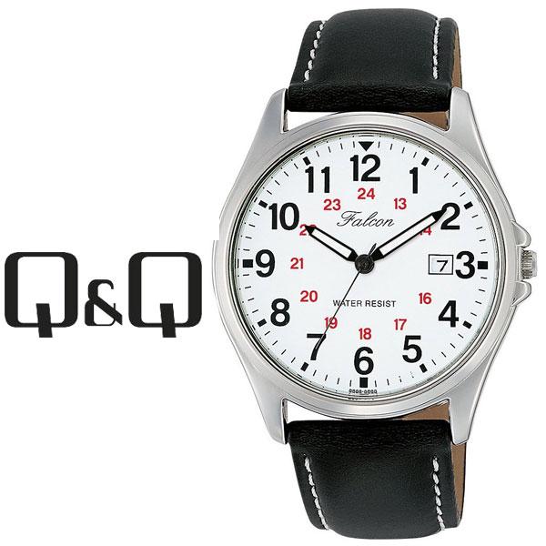 【ネコポス配送で送料無料】【レビューを書いて1年保証】シチズン CITIZEN Q&Q キューキュー Falcon ファルコン メンズ 腕時計 ホワイト × ブラック D026-304
