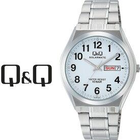 シチズン CITIZEN Q&Q キューキュー SOLARMATE ソーラーメイト スタンダード ペアモデル ソーラー メンズ 腕時計 ホワイト × シルバー H010-204