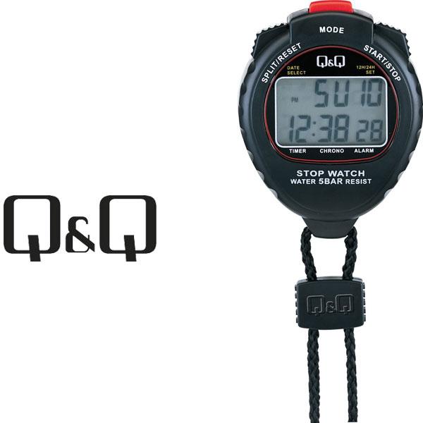 シチズン CITIZEN Q&Q キューキュー ストップウォッチ ネックストラップ付き ブラック HS44-001