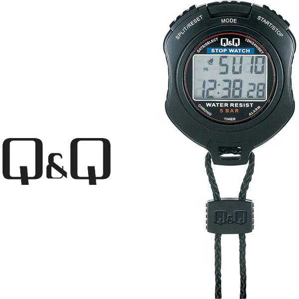 シチズン CITIZEN Q&Q キューキュー ストップウォッチ ネックストラップ付き ブラック HS47-001