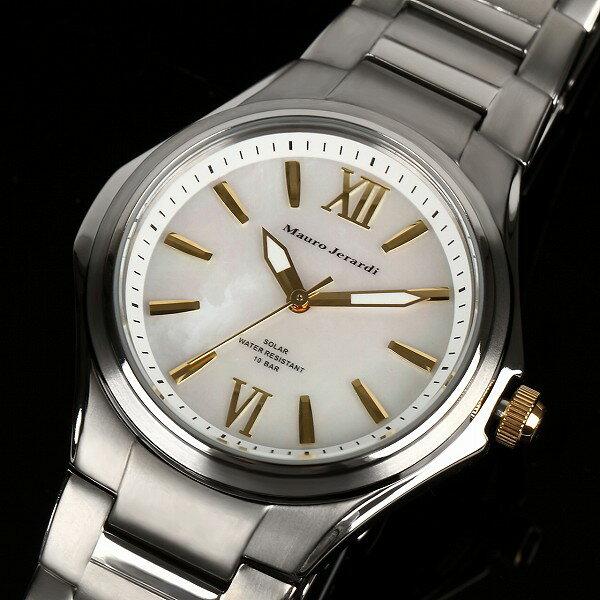 【Mauro Jerardi】 マウロジェラルディ ソーラー メンズ腕時計 チタン ホワイトダイアル MJ039-3【ネコポス不可】