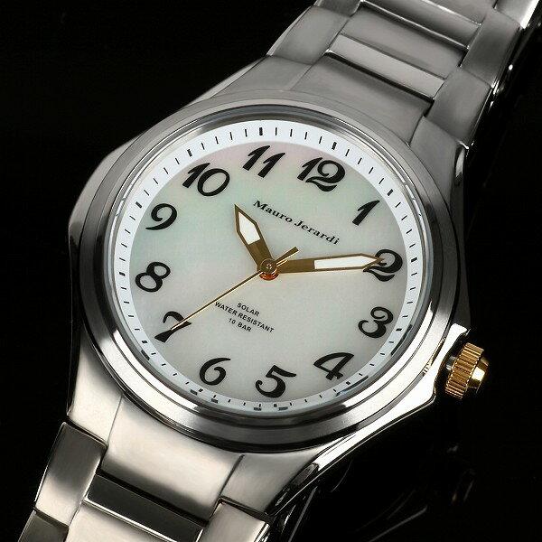 【Mauro Jerardi】 マウロジェラルディ ソーラー メンズ腕時計 チタン ホワイトダイアル MJ039-4【ネコポス不可】