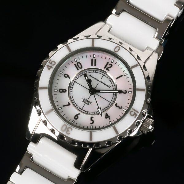 【Mauro Jerardi】 マウロジェラルディ ソーラーシリーズ レディース腕時計 ホワイトダイアル MJ042-2【ネコポス不可】