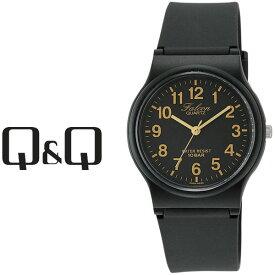 【ネコポス配送で送料無料】【レビューを書いて1年保証】シチズン CITIZEN Q&Q キューキュー Falcon ファルコン スタンダードモデル メンズ 腕時計 ブラック×ゴールド × ブラック VP46-853【あす楽】
