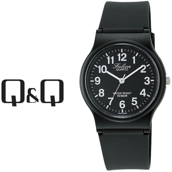 【ネコポス配送で送料無料】【レビューを書いて1年保証】シチズン CITIZEN Q&Q キューキュー Falcon ファルコン スタンダードモデル メンズ 腕時計 ブラック × ブラック VP46-854【あす楽】