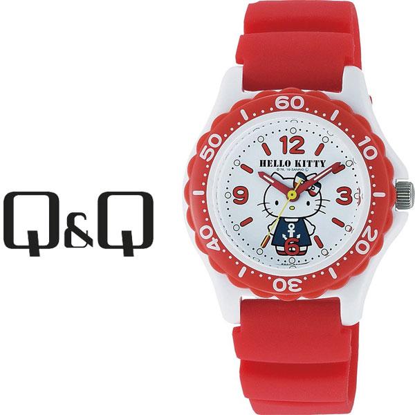 【ネコポス配送で送料無料】【レビューを書いて1年保証】シチズン CITIZEN Q&Q キューキュー HelloKitty ハローキティ レディース 腕時計 ホワイト × レッド VQ75-232【あす楽】