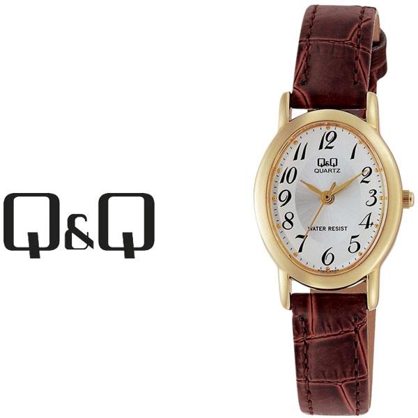 【ネコポス配送で送料無料】【レビューを書いて1年保証】シチズン CITIZEN Q&Q キューキュー スタンダード レディース 腕時計 ホワイト × ブラウン VZ89-104【あす楽】