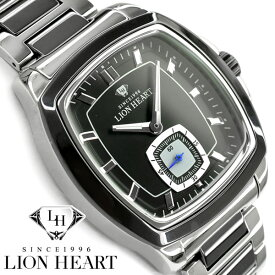 【LION HEART】ライオンハート スモールセコンド クォーツ メンズ腕時計 ツートンカラー ブラックダイアル シルバー×ブラック ステンレスベルト LHW102SBK