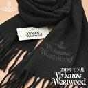 【早割500円オフクーポン】【送料無料】Vivienne Westwood 2019年新作 ヴィヴィアンウエストウッド ヴィヴィアン マフラー レディース ロゴ入り ストール 無地カラー ブラック BLACK VV19-N401-BLACK【あす楽】