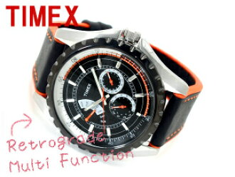 Timex multi-function nostalgic grad black orange urethane belt T2M428