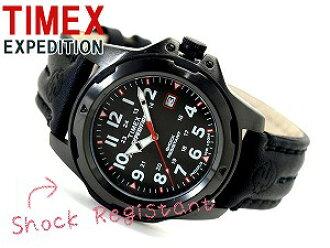 Timex EXPEDITION人手錶全部黑色皮革皮帶T49778