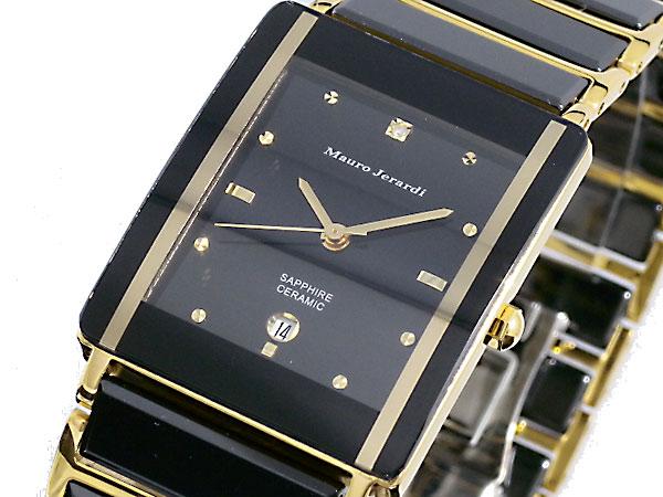 【Mauro Jerardi】マウロジェラルディ 一粒ダイア アナログ クォーツ メンズ セラミック腕時計 ブラックダイアル ブラックコンビベルト MJ3080-1【送料無料】【ネコポス不可】