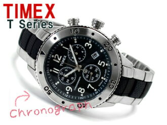 Timex T系列人計時儀手錶灰色黑色撥盤不銹鋼×尿烷搭擋皮帶T2M706