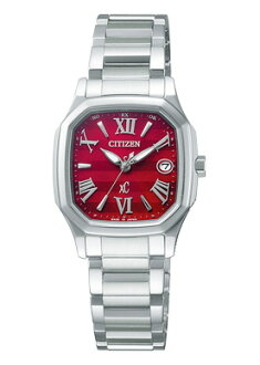Cloth-citizen ladies watch eco-drive radio watch red dial-silver XCB38-9201