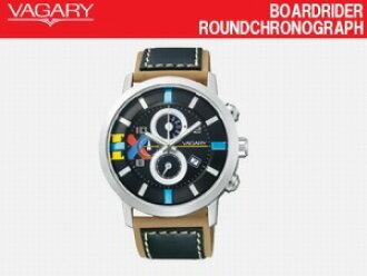 VAGARY bagarimenzu手錶BOARDRIDER ROUND CHRONOGRAPH計時儀西鐵城居民黑色×黑色皮革BM8-011-50