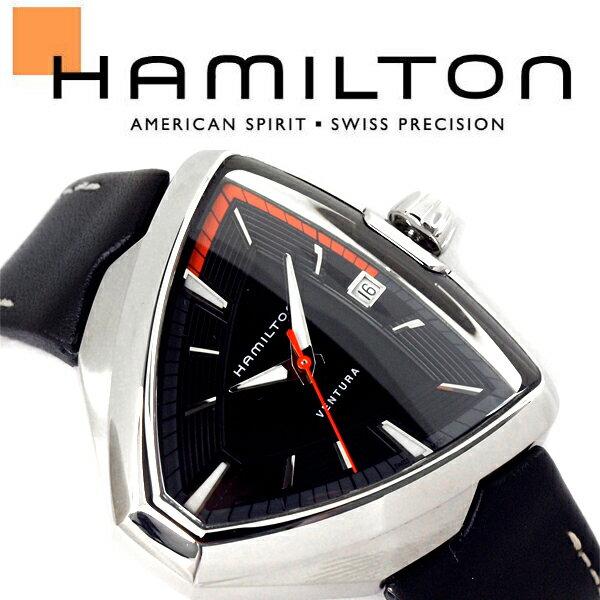 HAMILTON ハミルトン ベンチュラ VENTURA Elvis80 エルビス メンズ 腕時計 三角形 アナログ レザー 本革 ブラック シルバー スイス製 H24551731【あす楽】