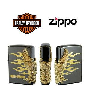 【ZIPPO Harley‐Davidson】ジッポオイルライター ハーレーダビッドソン サイドメタル ブラックイオンベース×ゴールドメタル HDP-01【送料無料】【流通限定品】【ネコポス不可】