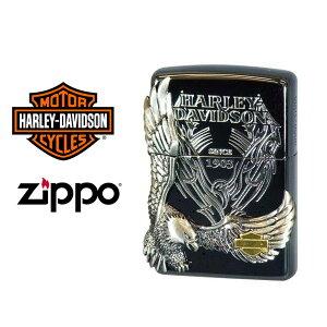 【ZIPPO Harley‐Davidson】ジッポオイルライター 限定モデル ハーレーダビッドソン サイドメタルベース ブラックイオン×ブラックサテンメタル HDP-18【送料無料】【流通限定品】【ネコポス不可