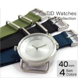【TID Watches】ティッドウォッチズ 腕時計 40mm シルバー 時計 ティッド TIDウォッチ メンズ レディース ユニセックス 男女兼用 ナイロン ベルト 送料無料 ギフト プレゼントTID01 TID01-40SV TID01-40SV-N