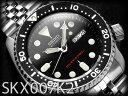 【逆輸入SEIKO AUTOMATIC】セイコー メンズダイバーズ自動巻き腕時計 BLACK BOY ブラックボーイ ブラックダイアル ブラックベゼル シルバーステンレスメタルベルト SKX007K2