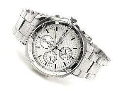 セイコー腕時計SEIKOメンズ逆輸入セイコーSND187SND187P1クロノグラフ腕時計クオーツ電池式男性用防水海外モデル正規品7年保証男性用メンズウォッチメタルベルトホワイト白SND187P