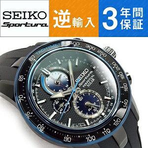 【逆輸入SEIKO Sportura】セイコースポーチュラ ソーラー クロノグラフ メンズ 腕時計 ブラックダイアル ウレタンベルト SSC429P1