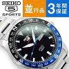 有精工5運動手卷的機械式人手錶黑色撥盤不銹鋼皮帶SRP659J1