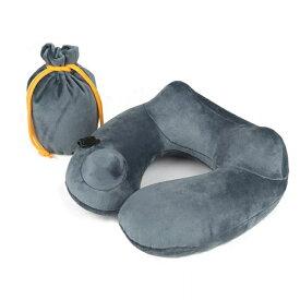 ネックピロー u型 首枕 洗える 枕 携帯枕 エアーピロー 旅行 ねっくぴロー 飛行機 バス 海外旅行 便利グッズ 収納ポーチ付 グレー 飛行機 まくら