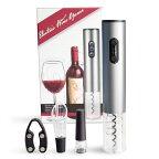 電動ワインオープナー、自動式ワインオープナー、アルミ合金、コードレスバッテリ駆動、ホイルカッター付き、メタリックペイント、シルバー