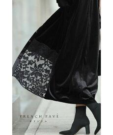 M〜L/2L〜3L【再入荷♪9月11日12時&20時より】「FRENCH PAVEオリジナル」光沢ベロアに刺繍をあしらったベロアシャツワンピース羽織 レース cawaii