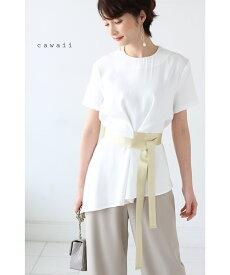 (M~L対応)【再入荷♪6月3日12時&22時より】「cawaii」アシンメトリーの自由自在リボンデザイントップスTシャツ