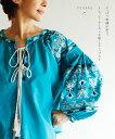 (スカイブルー)「YOHAKU」やっぱり刺繍が好き。〜ヒッピーテイストを愉しむトップス〜9月19日22時販売新作