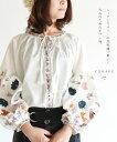 【再入荷♪11月17日12時&22時より】(ブルー)「YOHAKU」ニュアンスカラーの花刺繍で華やぐ大人のためのポワン袖。トッ…