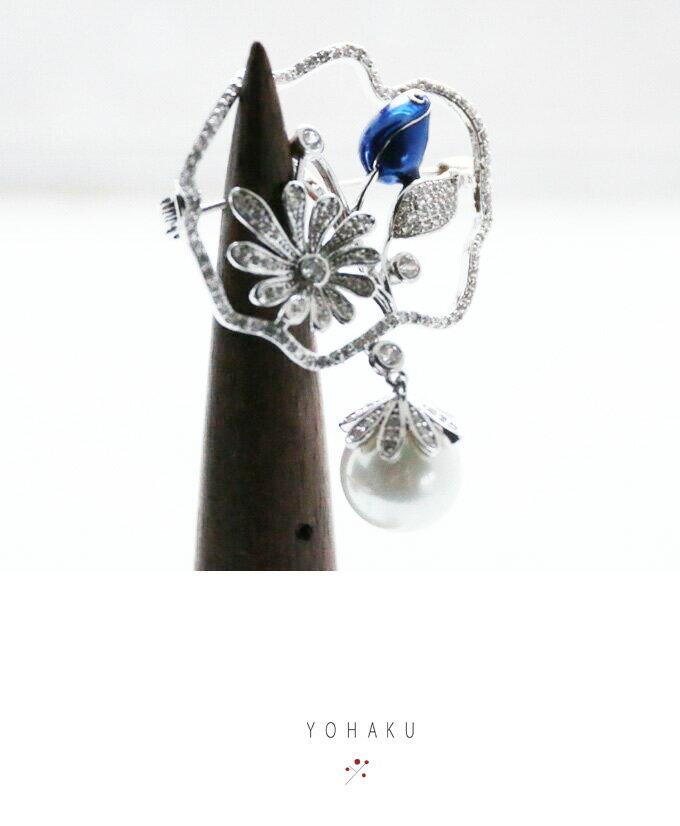 【再入荷♪8月24日12時&22時より】「YOHAKU」艶めく上質なロイヤルブルーの蕾とパールのブローチ