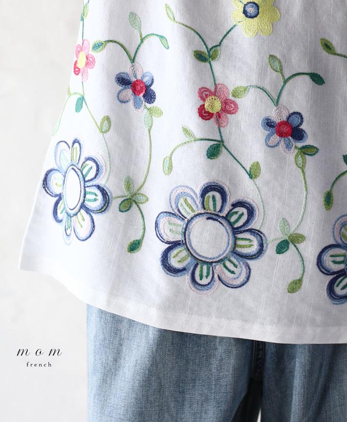【再入荷♪6月22日12時&22時より】「mom」春を感じる花刺繍トップス