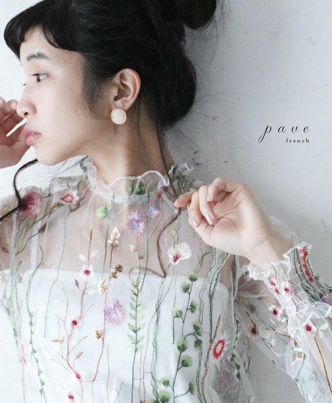 【再入荷♪2月16日12時&22時より】「pave」春風吹く花刺繍のヴェールトップス