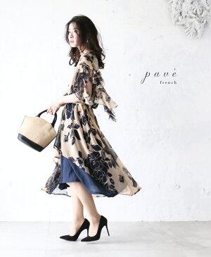 【再入荷♪5月18日12時&22時より】(ベージュ)「pave」ひらり踊る裾の花ワンピース