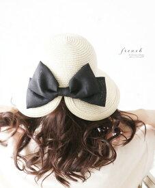 【再入荷♪8月11日12時&22時より】「french」大きなリボンの素敵な日よけ帽