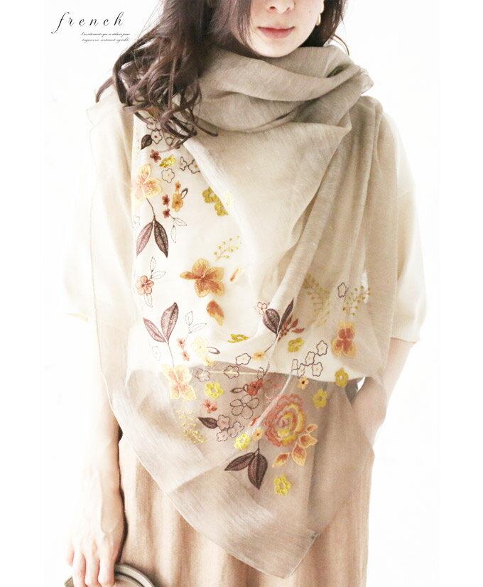 【再入荷♪5月3日22時より】「french」咲き誇る花刺繍のストール