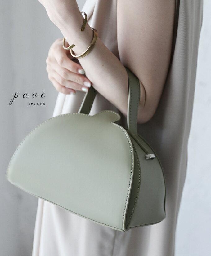 【再入荷♪3月22日12時&22時より】(グリーン)「pave」ハーフムーン2wayバッグ