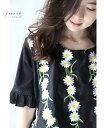 【再入荷♪7月11日12時&22時より】「french」垂れ咲く白花刺繍を纏うトップス