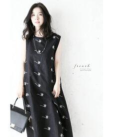 (M〜3L対応) 【再入荷♪8月9日12時&22時より】(ブラック)「french」化粧刺繍のオーバースカートワンピース