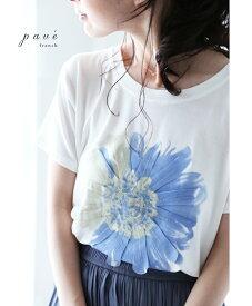 (S~L対応)【再入荷♪2月21日12時&22時より】「FRENCH PAVE」咲き浮かぶ1輪の花Tシャツトップス