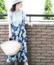 【再入荷♪5月22日12時&22時より】「french」爽やかブルーの花咲くサロペット
