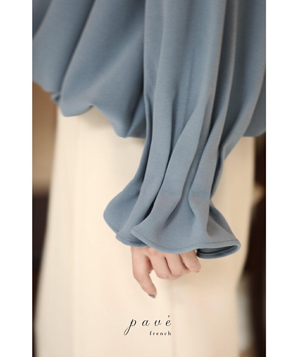S/M/L/2L(予約受注会)【再入荷♪1月18日12時&22時より】(予約販売:4月1日〜4月15日前後の出荷予定)「pave」たっぷりバルーン裾のタックスリーブブラウストップス