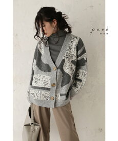(L~2L対応)【再入荷♪12月29日12時&22時より】(グレーミックス)「FRENCH PAVE」優しいダスティカラーの柄ニットカーディガン羽織り