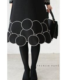 S〜M/M〜L対応【再入荷♪1月5日12時&22時より】「FRENCH PAVE」シックな丸刺繍。上品さ溢れる黒ワンピース
