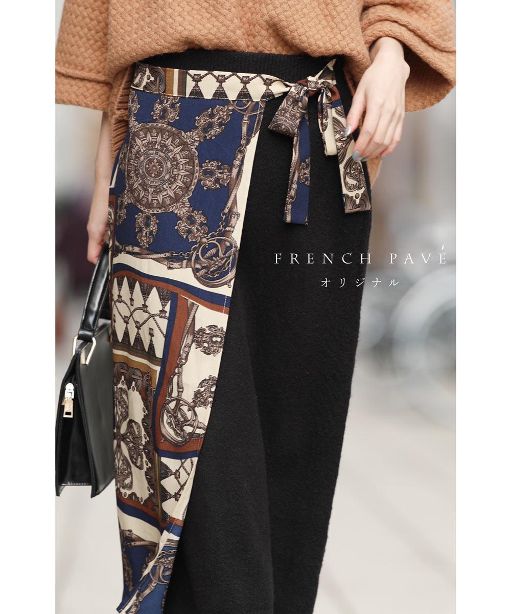 (予約受注会)【再入荷♪1月16日12時&22時より】(予約販売:3月1日〜3月25日前後の出荷予定)M〜L/2L〜3L「frenchpave」french paveオリジナル。ウエストリボンとスカーフの巻きスカートM/L/2L/3L